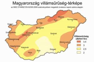 Túlfeszültség védelem Villámtérkép